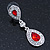 Bridal/ Wedding/ Prom Red/ Clear CZ Teardrop Earrings In Rhodium Plating - 50mm L - view 10