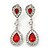 Bridal/ Wedding/ Prom Red/ Clear CZ Teardrop Earrings In Rhodium Plating - 50mm L