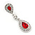 Bridal/ Wedding/ Prom Red/ Clear CZ Teardrop Earrings In Rhodium Plating - 50mm L - view 4
