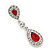Bridal/ Wedding/ Prom Red/ Clear CZ Teardrop Earrings In Rhodium Plating - 50mm L - view 11