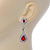 Bridal/ Wedding/ Prom Red/ Clear CZ Teardrop Earrings In Rhodium Plating - 50mm L - view 3