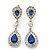 Bridal/ Wedding/ Prom Royal Blue/ Clear CZ Teardrop Earrings In Rhodium Plating - 50mm L
