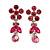 Delicate Pink Crystal Flower & Butterfly Drop Earrings In Rhodium Plating - 35mm L