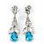 Clear/ Teal Blue CZ, Crystal Drop Sensation Earrings In Rhodium Plating - 37mm L