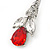 Clear/ Red CZ, Crystal Drop Sensation Earrings In Rhodium Plating - 37mm L - view 5