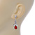 Clear/ Red CZ, Crystal Drop Sensation Earrings In Rhodium Plating - 37mm L - view 4