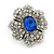 Clear/ Sapphire Blue CZ Floral Stud Earrings In Rhodium Plating - 20mm L - view 7