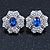 Clear/ Sapphire Blue CZ Floral Stud Earrings In Rhodium Plating - 20mm L - view 2