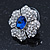 Clear/ Sapphire Blue CZ Floral Stud Earrings In Rhodium Plating - 20mm L - view 5