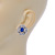 Clear/ Sapphire Blue CZ Floral Stud Earrings In Rhodium Plating - 20mm L - view 4
