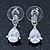 Bridal/ Wedding/ Prom Clear CZ Teardrop Earrings In Rhodium Plating - 20mm L