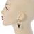 Antique Gold Tone Leaf Hoop Earrings - 40mm L - view 2