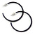 Dark Blue Enamel Hoop Earrings - 40mm - view 7