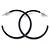 Dark Blue Enamel Hoop Earrings - 40mm - view 4