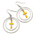 Double Hoop With Yellow Cross Earrings In Silver Tone - 58mm L