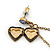 Vintage Inspired Heart Locket Chain Drop Earrings In Antique Gold Tone - 60mm L - view 3