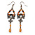 Victorian Style Light Brown Acrylic Bead, Filigree Drop Earrings In Bronze Tone - 85mm L