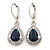 Montana Blue/ Clear CZ Drop Earrings With Leverback Closure In Rhodium Plating - 33mm L - view 4