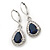 Montana Blue/ Clear CZ Drop Earrings With Leverback Closure In Rhodium Plating - 33mm L - view 8
