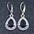 Montana Blue/ Clear CZ Drop Earrings With Leverback Closure In Rhodium Plating - 33mm L - view 9