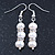 7mm Bridal/ Prom Delicate White Freshwater Pearl With Crystal Ring Drop Earrings In Silver Tone - 43mm L - view 7