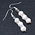 7mm Bridal/ Prom Delicate White Freshwater Pearl With Crystal Ring Drop Earrings In Silver Tone - 43mm L - view 3