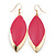 Pink Enamel Leaf Drop Earrings In Gold Tone - 70mm L