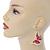 Lightweight Pink Enamel Butterfly Drop Earrings In Gold Tone - 60mm L - view 2