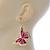 Lightweight Pink Enamel Butterfly Drop Earrings In Gold Tone - 60mm L - view 3