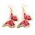 Lightweight Pink Enamel Butterfly Drop Earrings In Gold Tone - 60mm L - view 4