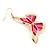 Lightweight Pink Enamel Butterfly Drop Earrings In Gold Tone - 60mm L - view 5