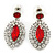 Prom/ Bridal Red/ Clear Austrian Crystal Oval Drop Earrings In Rhodium Plating - 38mm L