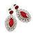 Prom/ Bridal Red/ Clear Austrian Crystal Oval Drop Earrings In Rhodium Plating - 38mm L - view 8