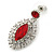 Prom/ Bridal Red/ Clear Austrian Crystal Oval Drop Earrings In Rhodium Plating - 38mm L - view 3