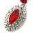 Prom/ Bridal Red/ Clear Austrian Crystal Oval Drop Earrings In Rhodium Plating - 38mm L - view 4