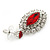 Prom/ Bridal Red/ Clear Austrian Crystal Oval Drop Earrings In Rhodium Plating - 38mm L - view 5