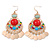 Multicoloured Acrylic Bead Chandelier Earrings In Gold Plating - 80mm L - view 5