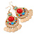 Multicoloured Acrylic Bead Chandelier Earrings In Gold Plating - 80mm L - view 1