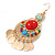 Multicoloured Acrylic Bead Chandelier Earrings In Gold Plating - 80mm L - view 7