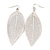 Silver Tone Filigree Leaf Drop Earrings - 85mm L - view 2