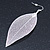 Silver Tone Filigree Leaf Drop Earrings - 85mm L - view 4