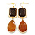 Large Animal Print Resin Bead Teardrop Earrings In Gold Tone - 85mm L