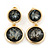 Grey Crystal Double Button Drop Earrings In Gold Tone - 45mm L