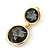 Grey Crystal Double Button Drop Earrings In Gold Tone - 45mm L - view 8