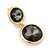 Grey Crystal Double Button Drop Earrings In Gold Tone - 45mm L - view 3