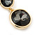 Grey Crystal Double Button Drop Earrings In Gold Tone - 45mm L - view 5