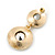 Grey Crystal Double Button Drop Earrings In Gold Tone - 45mm L - view 4