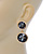 Grey Crystal Double Button Drop Earrings In Gold Tone - 45mm L - view 6