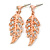Delicate Clear Austrian Crystal Leaf Drop Earrings In Rose Gold Tone - 40mm L