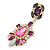 Statement Multicoloured Acrylic, Crystal Bead Chandelier Earrings In Gold Tone - 75mm L - view 8